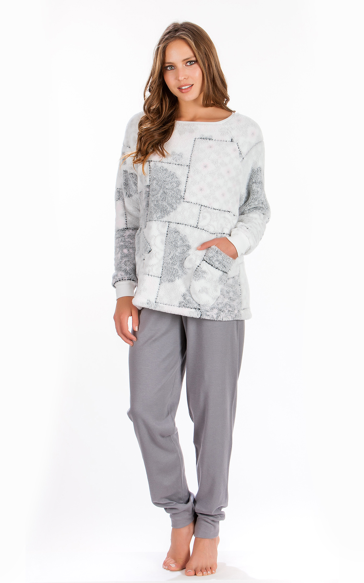 Woman Pyjama Winter Fleece Print b4d3f259639